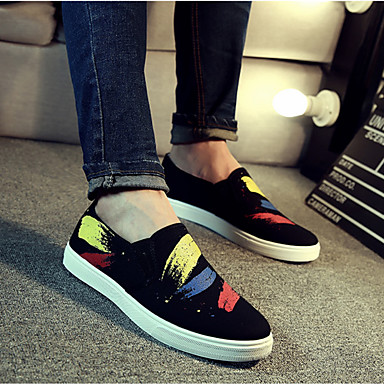 Men's Shoes Canvas Spring Summer Moccasin Loafers & Slip-Ons for Casual Black Red Blue