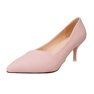 Naisten Kengät PU Kesä Korkokengät Kävely Stilettikorko Terävä kärkinen Split Joint varten Musta Harmaa Pinkki