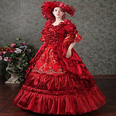 Viktoriaaninen Rokokoo Asu Naisten Mekot Naamiaisasu Juhla-asu Punainen Vintage Cosplay Satiini Pitkähihainen Kokopitkä