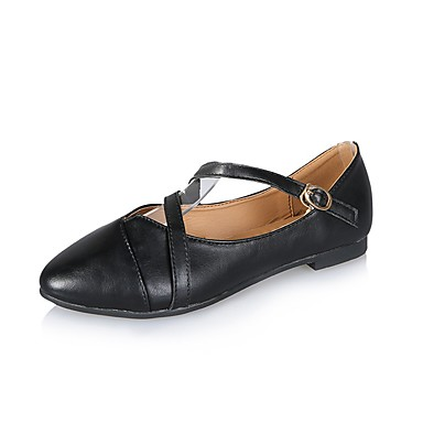Women's Flats Comfort Spring Fall Leatherette Casual Dress Buckle Flat Heel Black Blushing Pink Khaki Under 1in