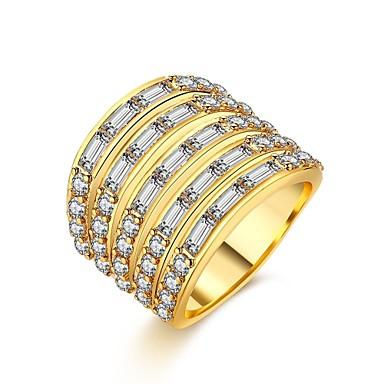 Dame Ring Kubisk Zirkonium Personalisert Luksus Geometrisk Unikt design Klassisk Vintage Rhinestone Bohemsk Grunnleggende Hjerte Sirkel