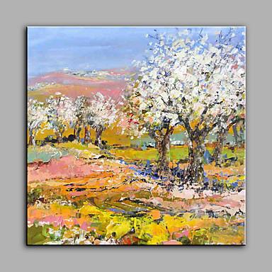 Håndmalte Blomstret/Botanisk Kvadrat, Moderne Lerret Hang malte oljemaleri Hjem Dekor Et Panel