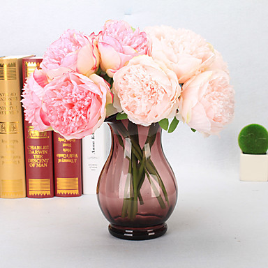 5 Branch Plastic PU Real touch Peonies Tabletop Flower Artificial Flowers