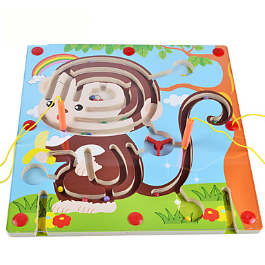 Maze & Sequential Puzzles Maze Magnetic Maze Toys Magnetic Flat Shape Wood Cartoon 1 Pieces Kids Boys Christmas Children's Day Gift