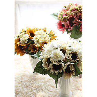 1 Branch Plastic Sunflowers Plants Carnation Tabletop Flower Artificial Flowers