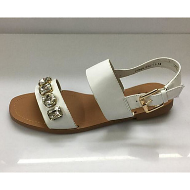 Women's Sandal Comfort Summer Real Leather Synthetic Casual White Light Brown Flat