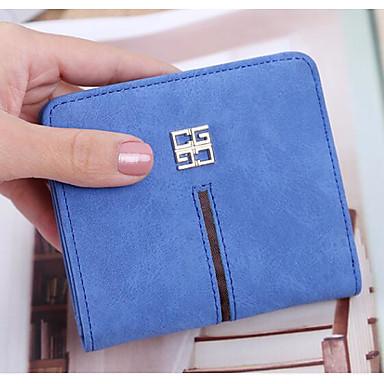 Women Checkbook Wallet PU All Seasons Casual Square Clasp Lock Black Gray Azure