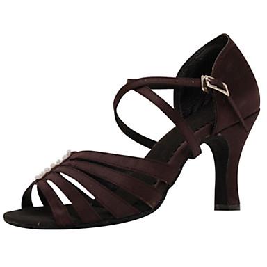 Women's Latin Shoes Silk Sandal Buckle Stiletto Heel Customizable Dance Shoes Dark Brown / Performance / Leather
