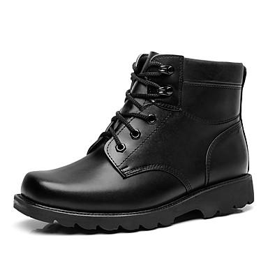 Herre sko Syntetisk Mikrofiber PU Høst Vinter Trendy støvler Støvler Ankelstøvler Snøring Til Avslappet Svart
