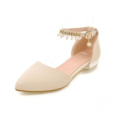 mulheres sintético / pu (poliuretano) verão / outono conforto / novidade apartamentos sapatos de passeio calcanhar liso apontou dedo do pé strass bege / azul / rosa / casamento / festa& vestido de