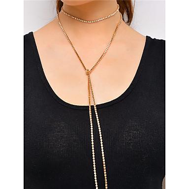 Mulheres Gema Strass Gargantilhas Colarinho - Personalizada Euramerican Multi-maneiras Wear Fashion Estilo simples Irregular Dourado