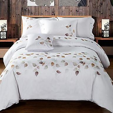 Stripe 4 Piece Cotton Cotton 1pc Duvet Cover 2pcs Shams 1pc Flat Sheet