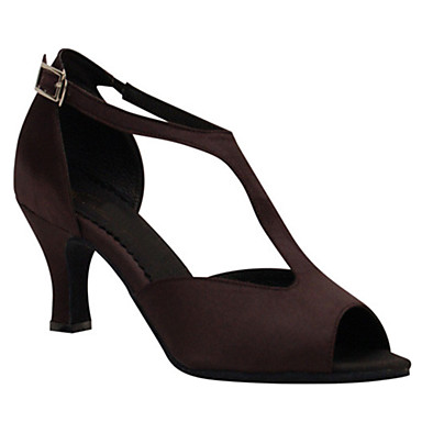 Mulheres Sapatos de Dança Latina Seda Sandália Presilha Salto Cubano Personalizável Sapatos de Dança Castanho Escuro / Espetáculo / Couro