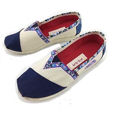 Mulheres Sapatos Tecido Primavera Verão Solados com Luzes Conforto Mocassins e Slip-Ons Caminhada Sem Salto Ponta Redonda Combinação para