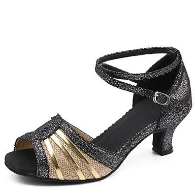 Mulheres Sapatos de Dança Latina Sintético Sandália Interior Presilha Salto Robusto Dourado Preto Vermelho 2 - 2 3/4inch