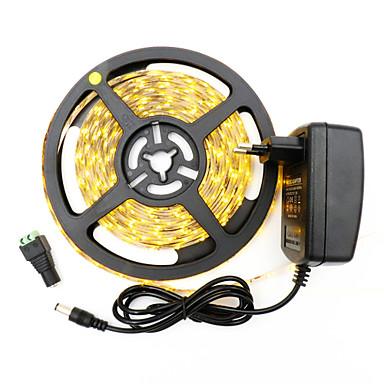 HKV 5m Faixas de Luzes LED Flexíveis 300 LEDs 3528 SMD Branco Quente / Branco Cortável / Auto-Adesivo 12 V