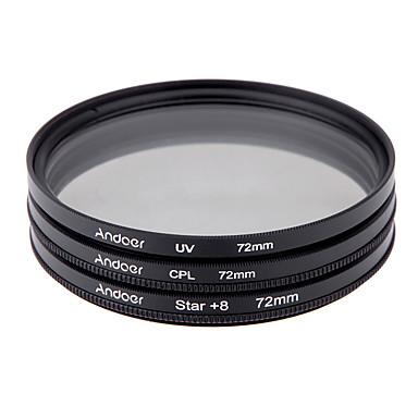 Andoer 72mm filter sett uv cpl star 8-punkts filtersett med etui til Canon Nikon Sony DSLR-kameraobjektiv
