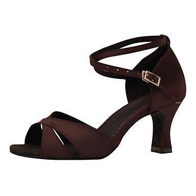 Mulheres Sapatos de Dança Latina Seda Sandália Presilha Salto Agulha Personalizável Sapatos de Dança Castanho Escuro / Espetáculo / Couro