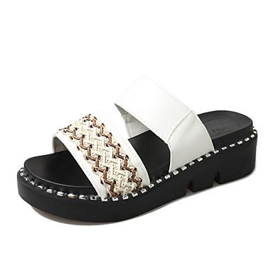 Mulheres Sapatos Couro Ecológico Primavera Verão Doce Creepers Sandálias Dedo Aberto para Diário Para Noite Branco Preto