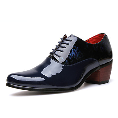 Men's Shoes Patent Leather Spring Summer Comfort Oxfords Walking Shoes for Office & Career Party & Evening Black Dark Blue