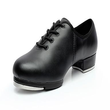 Mulheres Sapatilhas de Sapateado Couro Salto / Têni Salto Baixo Sapatos de Dança Preto / Ensaio / Prática
