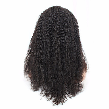 Non-Remy Kinky Curly Deep Parting Lace Front Wigs Brazilian Human Hair Natural Color 14-18''120 denisty for Black Women