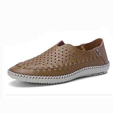 Miesten kengät Tyll Nahka Kesä Valopohjat Mokkasiinit Kävely varten Kausaliteetti Ruskea Sininen Khaki