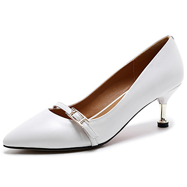 Women's Shoes Cowhide Summer Light Soles Heels Walking Shoes Stiletto Heel Pointed Toe for Casual White Black