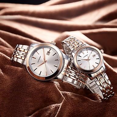 SINOBI Casal Relógio de Pulso Japanês Resistente ao Choque Aço Inoxidável Banda Luxo / Fashion Prata / Dois anos / Sony SR626SW