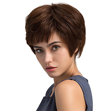 Fluffy Natural Oblique Fringe Short Hair Human Hair Wigs For Woman