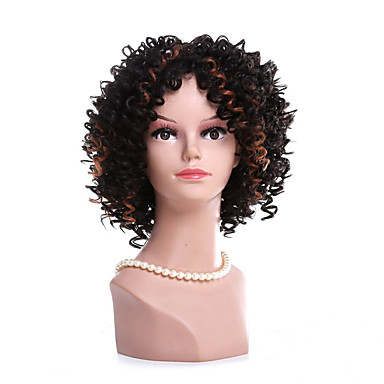 Fashion Black To Brown Ombre Color Kinky Curly Synthetic Wigs For Afro Women Wig