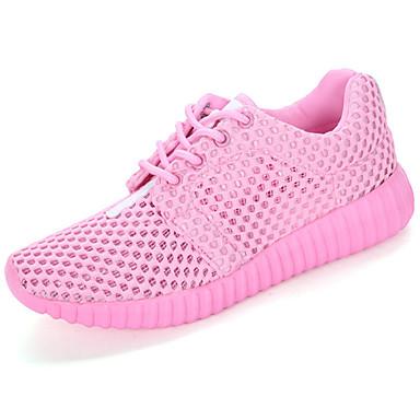 Mulheres Sapatos Tule Primavera Outono Solados com Luzes Conforto Tênis Sem Salto Ponta Redonda Cadarço para Casual Ao ar livre Branco