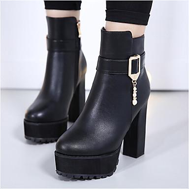 Naiset Bootsit Slingback PU Kevät Kausaliteetti Slingback Musta 3-3,75in