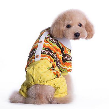 Cachorro Macacão Roupas para Cães Casual Geométrico Amarelo Azul Ocasiões Especiais Para animais de estimação