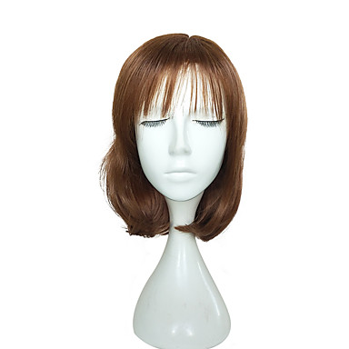Synthetic Wig Wavy With Bangs Brown Women's Capless Natural Wigs Short Synthetic Hair