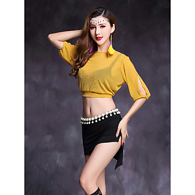 Belly Dance Outfits Women's Performance Modal Spandex Half Sleeves Natural Skirts Top