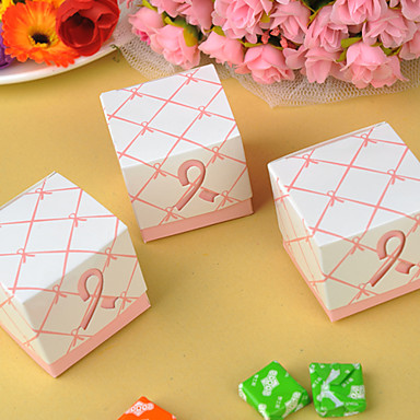 Cubic / Cylinder Material / Cotton Favor Holder with Dot / Pattern Favor Boxes / Favor Bags / Favor Tins and Pails - 12