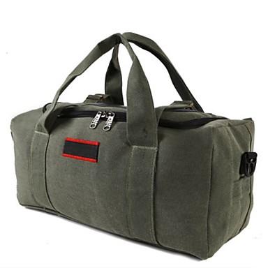 Men Travel Bag Canvas All Seasons Casual Outdoor Weekend Bag Zipper Black Military Green Clover