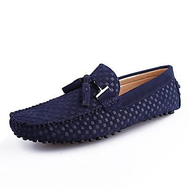 Homens sapatos Camurça Primavera / Outono Mocassim Mocassins e Slip-Ons Preto / Azul Escuro / Azul Real / Festas & Noite