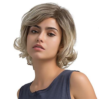 Mulheres Perucas de cabelo capless do cabelo humano Ondulado Parte lateral Cabelo Ombre Corte Bob Com Franjas Curto Castanha Brown /