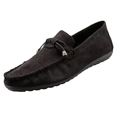 Homens sapatos Couro Ecológico Primavera / Outono Conforto Mocassins e Slip-Ons Preto / Cinzento / Vermelho