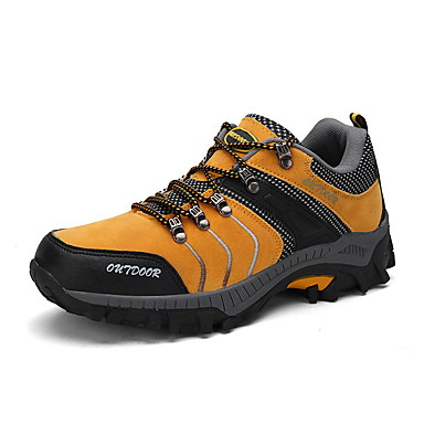 Men's Faux Leather Spring / Fall Comfort Athletic Shoes Hiking Shoes Gray / Yellow / Green