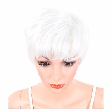 Syntetiske parykker Bølget Pixiefrisyre / Med lugg Syntetisk hår Hvit Parykk Dame Kort Naturlig parykk Lokkløs