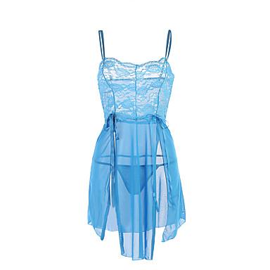 Women's Babydoll & Slips Nightwear Patchwork-Translucent Purple Light Blue