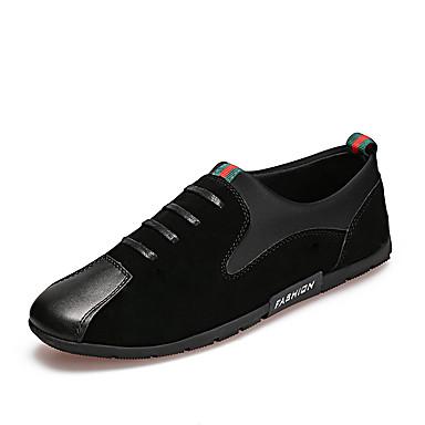 Herrn Schuhe Stoff Frühling Herbst Mokassin Komfort Loafers & Slip-Ons Elastisch für Normal Schwarz Rot