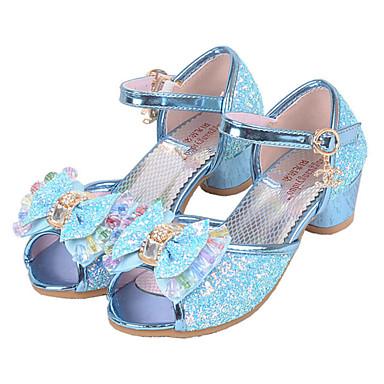 Para Meninas sapatos Paetês Verão Outono Sapatos para Daminhas de Honra Conforto Rasos Lantejoulas Presilha para Casual Social Prata Azul