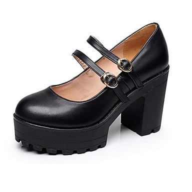 Mulheres Sapatos Couro Primavera / Outono Sapatos formais Saltos Salto Robusto Ponta Redonda Preto