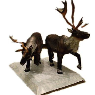 Quebra-Cabeças 3D Maquetes de Papel Artesanato de Papel Brinquedos de Montar Elk Veado Animais Simulação Faça Você Mesmo Cartão de Papel
