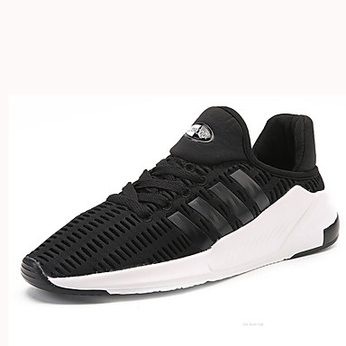 Homens sapatos Tule Primavera Outono Conforto Tênis Corrida Cadarço para Casual Preto Azul Escuro Cinzento