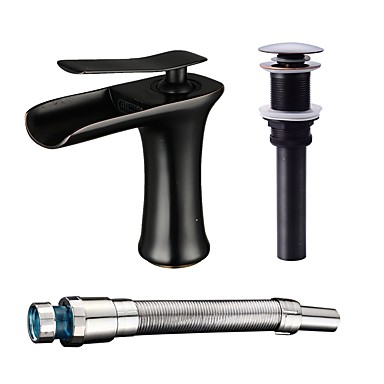 Bathroom Sink Faucet - Waterfall Oil-rubbed Bronze Centerset One Hole